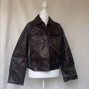 Burgundy faux croc jacket